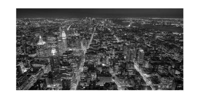 Manhattan, South View from Midtown 4 - New York City at Night, Horizontal Panorama by Henri Silberman