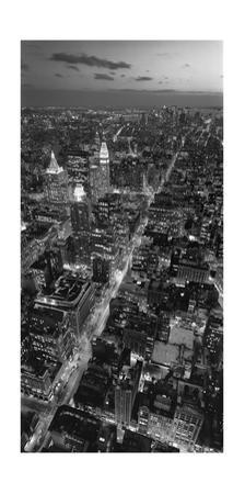 Manhattan, South View from Midtown - New York City at Night, Vertical Panorama by Henri Silberman