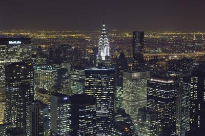 New York City, Top View 11 (Chrysler Building, Looking East, Night) by Henri Silberman