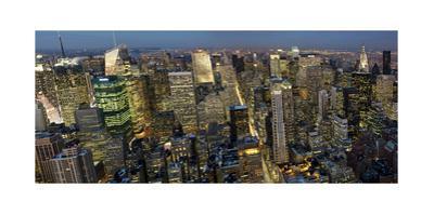 New York City, Top View 5 (Evening Panorama) by Henri Silberman