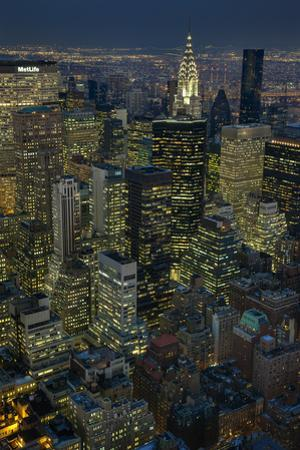 New York City, Top View with Chrysler Building (Night) by Henri Silberman