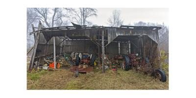 Old Farm Shed with Tractors and Mowers, NC (Abandoned, South) by Henri Silberman