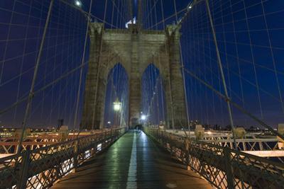 On Brooklyn Bridge Night 2 (Walkway, Arches) by Henri Silberman
