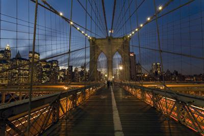 On Brooklyn Bridge Night 3 (Walkway, Arches, Lower Manhattan) by Henri Silberman
