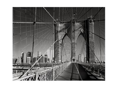 On The Brooklyn Bridge - Arches, Cables, Manhattan View, Day by Henri Silberman