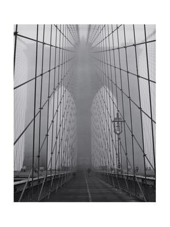 On the Brooklyn Bridge, Fog, Close-Up - New York City Icon by Henri Silberman