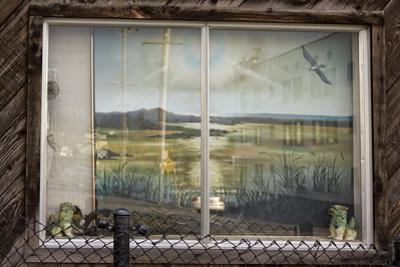 Painting in Window on Macarthur Blvd, Oakland, CA (Seashore Landscape)