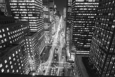 Park Avenue at Night - Aerial View Of Midtown Manhattan Iconic Nyc by Henri Silberman