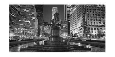 Plaza at Night Panorama by Henri Silberman