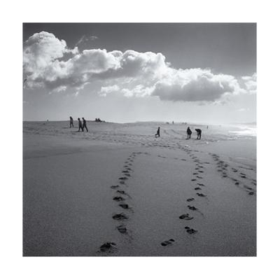 Point Reyes Beach, Clouds, Footprints by Henri Silberman