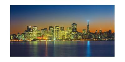 San Francisco Skyline, Panorama 2 - Night View From Treasure Island by Henri Silberman