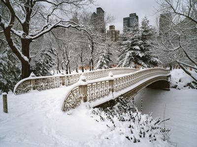 Snow Covered Bridge Central Park by Henri Silberman