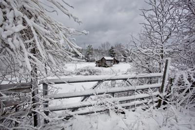 Snow Covered Gate and Old Farm Wide View by Henri Silberman
