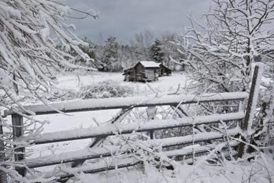 Snow Covered Gate and Old Farm by Henri Silberman