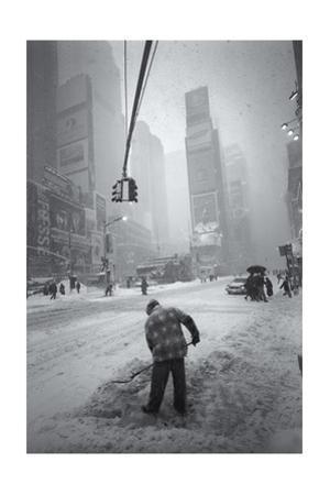 Times Square Blizzard Snow Shoveling by Henri Silberman
