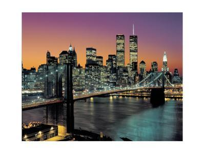 Top View, Brooklyn Bridge in Color - New York City Skyline at Night by Henri Silberman