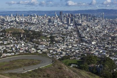 Twin Peaks View of San Francisco, CA 2 (City with Bay and Clouds) by Henri Silberman