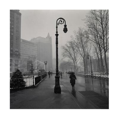 Under Lamp Post in Rain. Brooklyn Heights by Henri Silberman