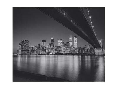 Under the Brooklyn Bridge 2 - Lower Manhattan at Night by Henri Silberman