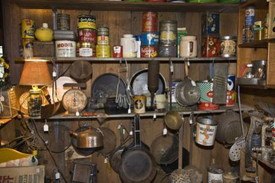 Vintage Cookware and Tins on a Shelf