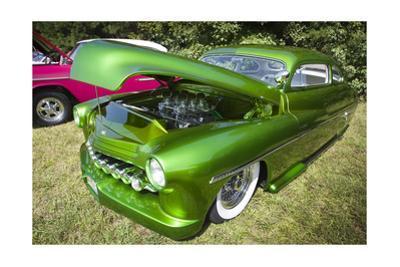 Vintage Green Car with Open Hood by Henri Silberman