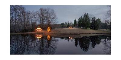 Winter Landscape Cabin with Reflection (North Carolina Christmas Lights) by Henri Silberman