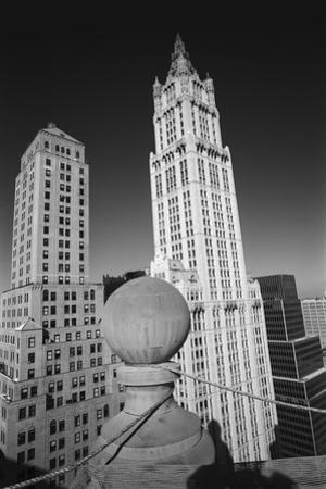Woolworth Building - Aerial View From Park Row by Henri Silberman