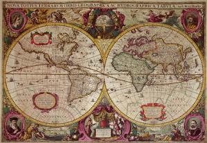 A New Land and Water Map of the Entire Earth, 1630 by Henricus Hondius