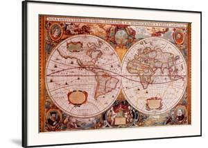 Antique Map, Geographica, c.1630 by Henricus Hondius