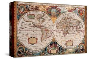 Antique Map, Geographica, Ca. 1630 by Henricus Hondius