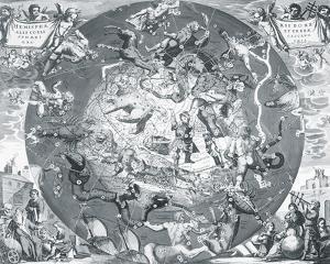 Hemisphae Alis Coeli Sphaeri Grarii Bore et Terre Casceno Phia, 1660 by Henricus Hondius