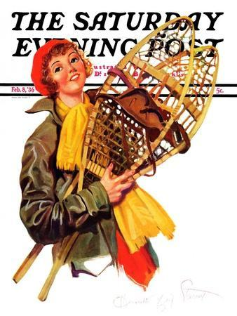 """""""Woman and Snowshoes,"""" Saturday Evening Post Cover, February 8, 1936"""