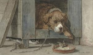 Cat Spies Birds While a Dog Sleeps, C. 1850-90 by Henriette Ronner