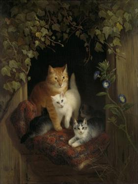 Cat with Kittens, by Henriette Ronner, C. 1844 by Henriette Ronner