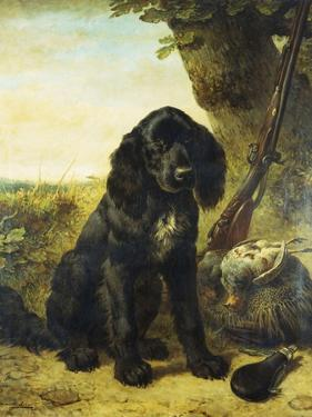 A Flat-Coated Retriever by a Tree by Henriette Ronner-Knip
