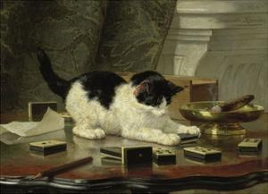 The Cat at Play, by Henriette Ronner, C. 1860-78, Belgian-Dutch Painting on Panel by Henriette Ronner