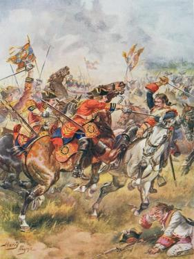 Charge of the Third Dragoons from 'Glorious Battles of English History' by Major C.H. Wylly, 1920S by Henry A. Payne