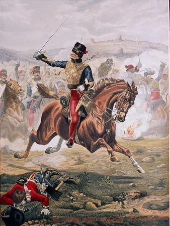 Lord Cardigan (1797-1868) Leading the Charge of the Light Brigade at the Battle of Balaklava,…