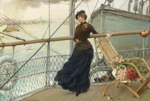 A Scottish Lady on a Boat Arriving in New York by Henry Bacon