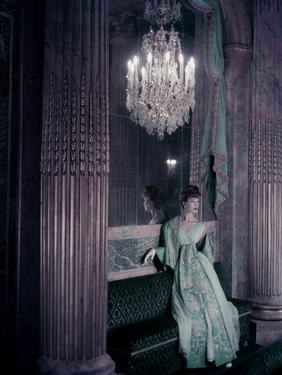 Model in Gold Embroidered Turquoise Lanvin-Castillo Dress in the Theater of King Louis Xv by Henry Clarke