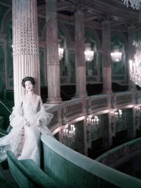 Model in White Tulle Dress with Spangles and Stole in the Theater of King Louis Xv at Versailles by Henry Clarke