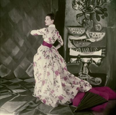 Model Wearing Fath's Rose Print Evening Dress of Satin Stripped Silk Organdie