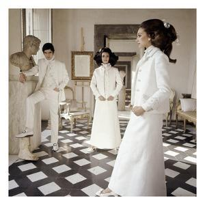 Vogue - March 1968 - Valentino Long White Evening Suits by Henry Clarke