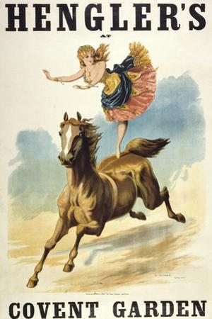Convent Garden, London. Hengler's Grand Cirque, C.,1888. Woman Dancing On Horseback by Henry Evanion