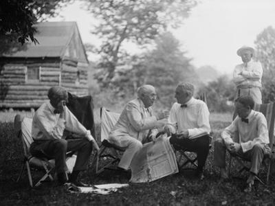 Henry Ford, Thomas Edison, President Warren Harding and Harvey Firestone