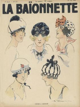 Five Styles of Cap for the Summer Resembling Bathing Caps Berets and Turbans by Henry Fournier