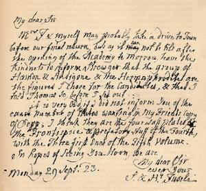 A letter from Henry Fuseli, 29 September 1823 (1904) by Henry Fuseli