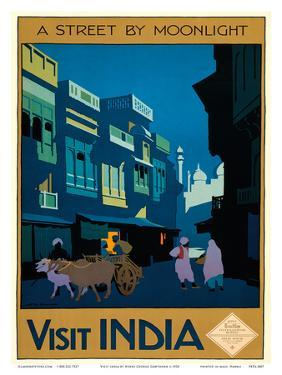 Visit India - A Street by Moonlight - Street Scene with Ox Cart by Henry George Gawthorn