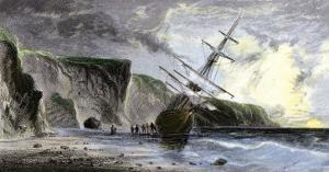 Henry Grinnell's Ship aground during the Search for the Lost Sir John Franklin Expedition, c.1853