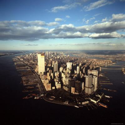 Aerial View of Lower Manhattan Skyline with Nearly Completed World Trade Center Towers
